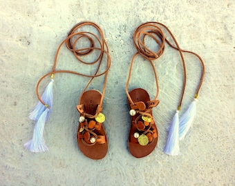 toddler - kids gladietor lace up with gold coins ,pearls and white tassel