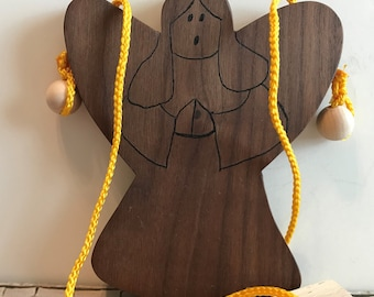 Toy Climbing Angel Made from Natural Walnut Wood - Handcrafted Wooden Toy Climbing Angel Natural Walnut Wood - Teaches Coordination