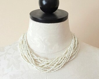 60's Vintage White Seed Bead Necklace