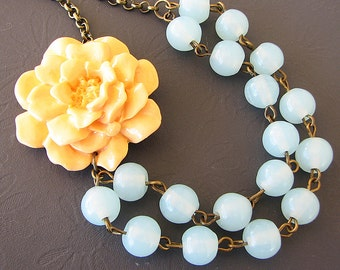 Statement Necklace Peach Flower Necklace Aqua Necklace Beaded Necklace Gift For Her
