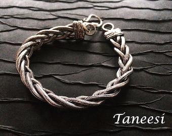 Men's Silver chain bracelet,Double Braided Chain,Rolled rope Silver bracelet, silver bracelet for women, Vintage style by Taneesi YBQ134