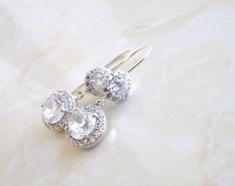 Bridal Earrings Halo CZ Dangle Hook  CNER1
