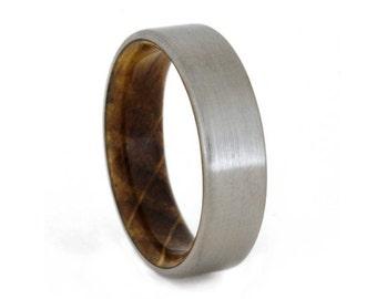 Whiskey Barrel Ring with Titanium Overlay, Oak Wood Wedding Band