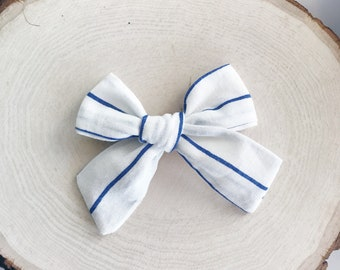 Linen Striped Mabel bow