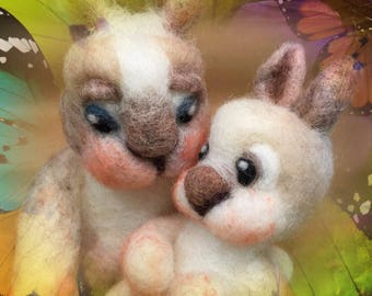 Needle felted rabbit, Easter felted, Easter ornament, Easter decor, rabbit figurine, bunny figurine, rabbit ornament, bunny ornament, bunny