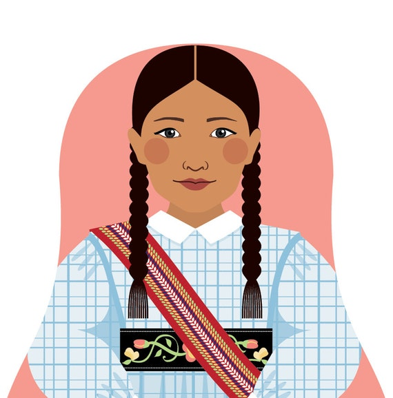 Métis Nation of Canada Doll Art Print with traditional dress