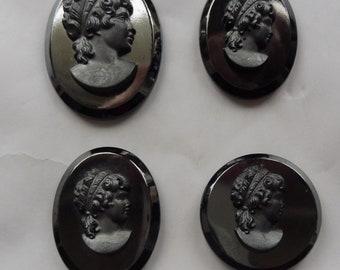 Four Vintage Hematite Glass Unset Cameos.