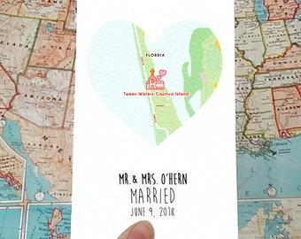 Personalised wedding card, wedding date map gift for bride and groom, wedding gift, personalised romantic keepsake card, church, chapel