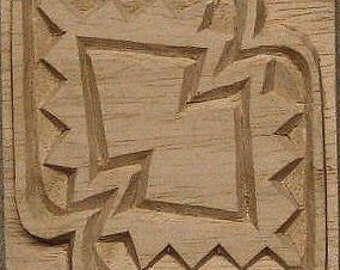 Oshiwa Carved Wood Printing Stamp, African Design, 3.25'' square, Item 26-5-10