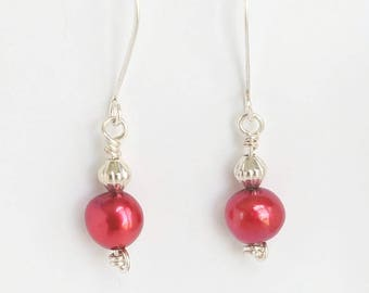 Red Pearl Earrings | Freshwater Pearl Earrings | Silver Pearl Earrings | Red Pearl Dangles | Pearl Drop Earrings | Red Freshwater Pearls