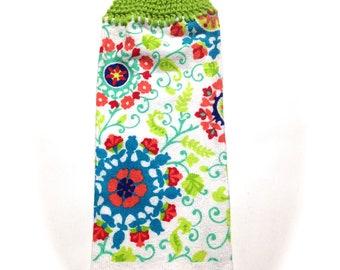 Flower Hand Towel With Limelight Green Crocheted Top