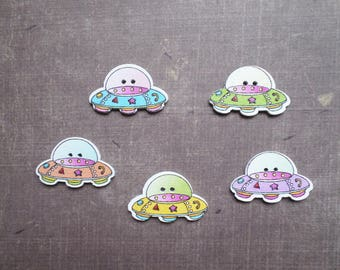 buttons 10 wood form flying saucer UFO vehicle