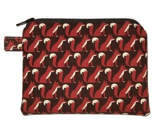 Mini Red Fox Coin Purse - Small Zipper Pouch - Fox Change Purse - Fox Purse - Coin Pouch - Animal Purse - Fox Bag
