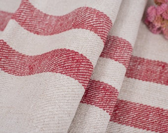 Red stripes Fabric, Antique linen ,Grain Sack from Europe, yachting pillow, wedding decoration, pillow benchcushion, wedding tablerunner