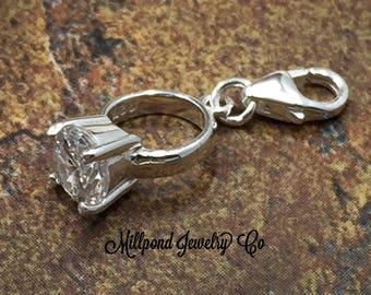 Ring Charm, Diamond Ring Charm, Wedding Charm, Engagement Charm, Wedding Ring Charm, Sterling Silver Charm, PS42LC