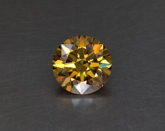 Moissanite Fancy Orange Brown Standard Round Brilliant Loose Modern Faceted Gemstone