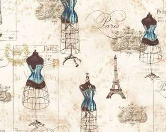 Robert Kaufman City Of Lights Collection Dusty Blue Paris Fabric - 1 yard
