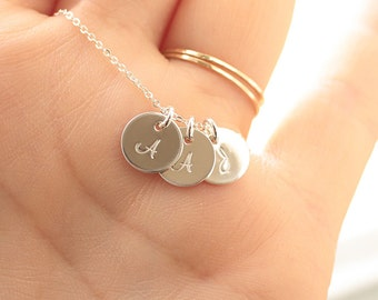 Three Initial Necklace, Sterling Silver, Three Letter Necklace, Hand Stamped Monogram Charm, Personalized Mother's Necklace, Initial Discs