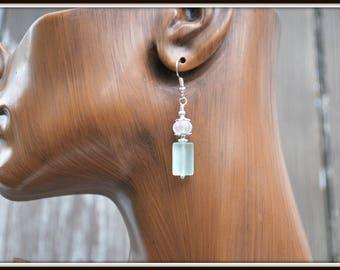 Sea Glass-Like Earrings, Frosted Glass Earrings, Recycled Glass Earrings, Faux Seaglass Earrings, Seafoam Green Earrings, Beach Glass