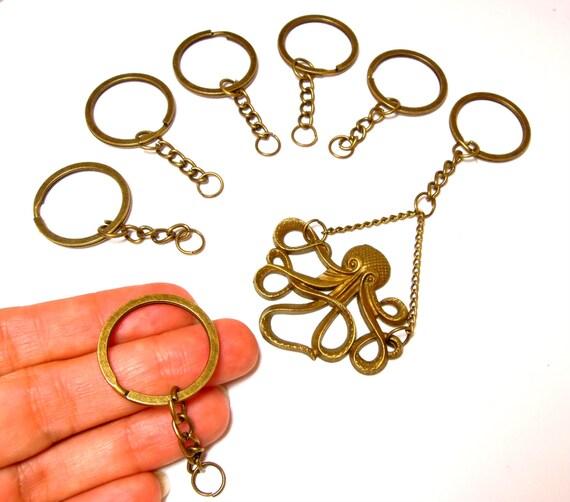 5 Brass key ring with chain 26mm - Antiqued bronze DIY keyring blanks - Keyring - Make your own keychain.UK Seller