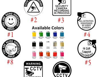 CCTV Security Camera Vinyl Decal Stickers Car Window Protect Business Home