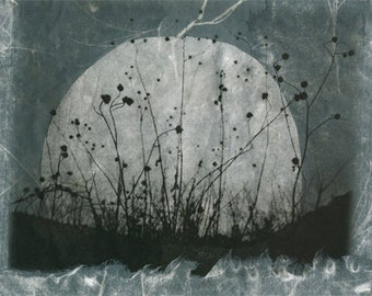 Moonrise, Charmed Meadow solarplate etching on handmade paper