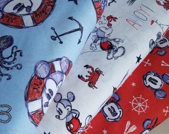 Disney Nautical  Fabric -Sailing since 1928, Ahoy Mickey or Aye, Aye Cotton Fabric