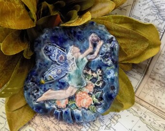 Fairy Focal Bead, one of kind bead -  ceramic Bead, fairy necklace supply , OOAK Ceramic bead, fairy bead - pottery bead   #  148