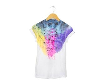 """SAMPLE SALE Spectrum Rainbow Tee - Original """"Splash Dyed"""" Boyfriend Fit Crew Neck T-shirt n White - Womens Size XL"""