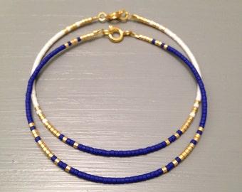 Dainty gold Jewelry Dainty Bracelet Cobalt Gold Minimalist Bracelet Beach Wedding