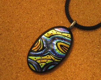 Hand Etched Dichroic Pendant - Fused Glass Pendant - Dichroic Jewelry - Fused Glass Jewelry - Hand Etched Glass - Dichroic Necklace