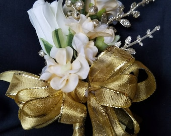 Corsage-Golden Silk Pin-on Corsage and Matching Boutonniere