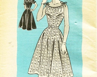 """SZ 14/Bust 32"""" - Vintage 1950's Dress Pattern - Mail Order Pattern 4599 - Misses' Flared Day Dress in Two Variations"""