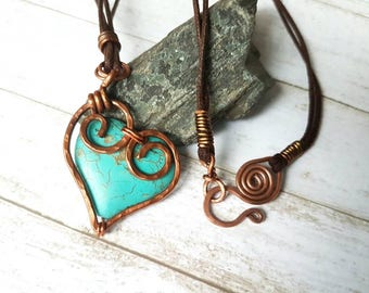 Wire Wrap Heart Pendant - Turquoise Pendant Necklace - Heart Pendant - Wire Wrap Pendant - Rustic Pendant - Tribal Pendant - Wife's Gift