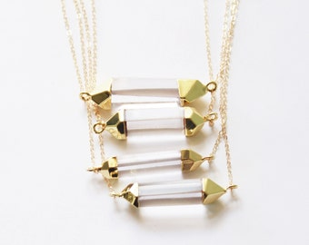 Dainty Crystal Necklace, Boho Necklace, Crystal Bar Necklace, Horizontal Crystal Pendant Layering Necklace, Crystal Jewerly