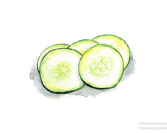 Cucumber Painting, Still Life, Fresh, Spring Green, Food, Vegetables, Kitchen Art, Botanical, 5 x 7 Print of Watercolor