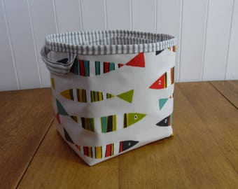 Reduced Striped Fish Print Ex-large Oilcloth Storage Basket Bin Oilcloth Bag