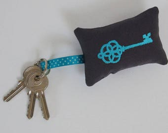 Liberty blue embroidered key ring