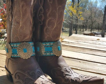 Boot Bling!! Boot Cuff, Genuine Leather, Conchos, feather, Cowboy Boot charms.
