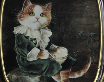 "Illustrated tin box, English Vintage Bentley's Of London Cat Tin Susan Herbert The Cats Gallery of Art ""Bubbles"" Millais Whimsical Box Metal"