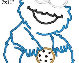Baby Cookie-Monster Birthday Sesame Applique Design Machine Embroidery Pattern 4x4 5x7 6x10 7x11 INSTANT DOWNLOAD