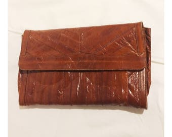 Vintage Brown Eel Skin Clutch