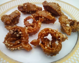24 Shebakia with Almonds - Moroccan Sesame - Almond - Honey - Traditional - Delicious