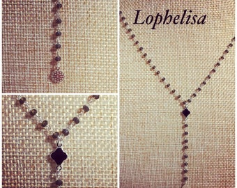 Faceted gray and silver beaded chain necklace treffle black and silver pendant, silver jewelry pendant designer lophelisa