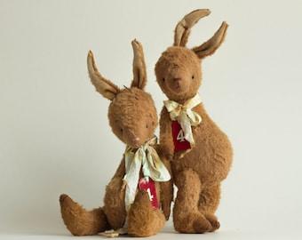 Mohair Bunny Ilia - Stuffed Animal - Plush Stuffed Rabbit - Pocket Bunny - Soft Toy Bunny - Artist Teddy Bears