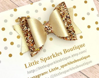Gold glitter bow, gold hair bow, glitter bow, baby/girl hair bow, autumn bow, wedding hair, christening