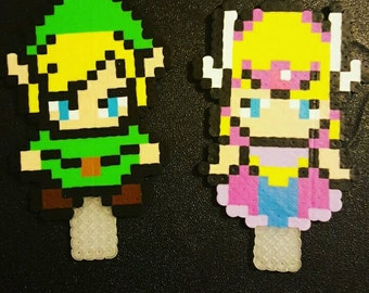 Perler Link and Zelda Cake Toppers, party decorations, cake decorations