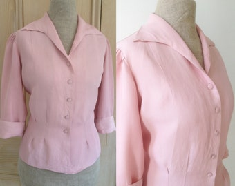 Vintage 1940s 1950s French tailored pink blouse 'Marielle'