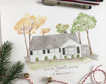 Custom House Illustration, Watercolor, Home Illustration