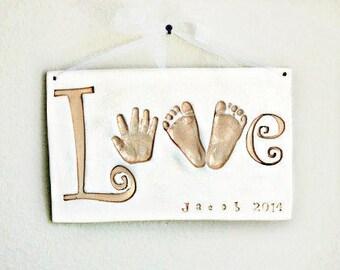 Handprint LOVE Plaque - Baby Keepsake Gift - Baby Keepsake - Newborn Keepsake Gift - Personalized Baby Gift - Baby Nursery Art - Imprint